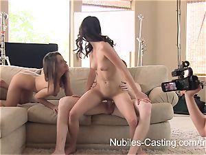 Having joy with two nubile women