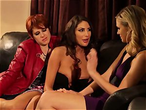 August Ames and Lily Cade strap on bed hook-up