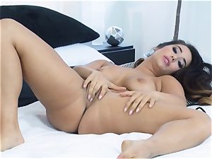 Eva Lovia frolicking with her fragile raw cooter