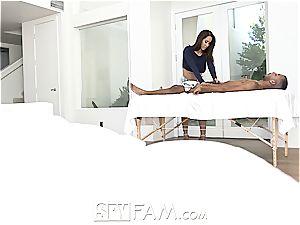 SpyFam big-boobed step mommy Isis enjoy rubs step sonny
