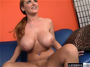 chubby breasted Sophie Dee gets a long firm manhood