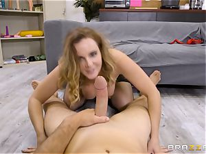 educator Natasha adorable blows the gigantic hard-on of strung up Sean