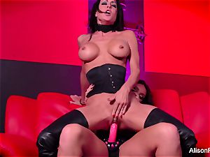 crimson apartment and steaming strap-on act