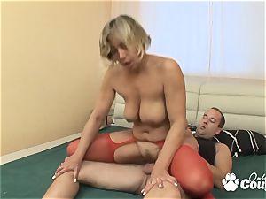 yam-sized bra-stuffers platinum-blonde mummy jumping on firm fuck-stick
