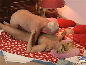 granddad ravages nubile gorgeous nympho She guzzles jizz