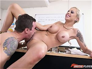 torrid caboose ash-blonde Nina Elle jammed in her minge
