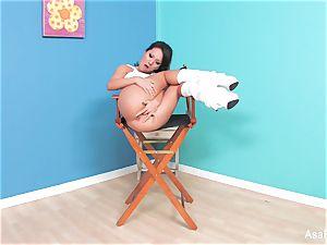asian superstar Asa Akira fngers both her crevasses