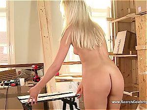 super-cute light-haired Andrea Francis blowing cock with her breasts out