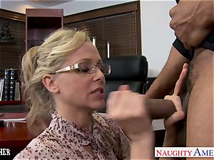 platinum-blonde instructor Julia Ann drilling a big black cock
