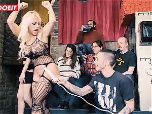 huge-boobed light-haired gets hardcore boning in bondage soiree