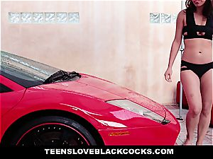 nice nubile cleaning a super-hot car and a ample black dick