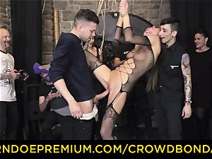 CROWD bondage - extreme sadism & masochism drill wheel with Tina Kay