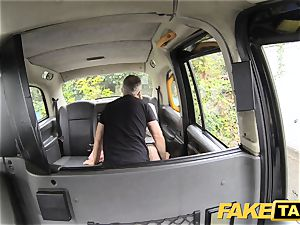 faux taxi blond likes aged fellows in backseat of cab