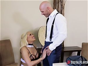 Married stud plumbs his cute huge-titted maid on sly from his wife