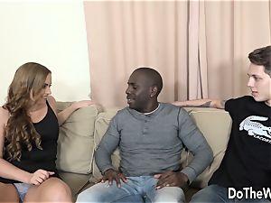 wifey Chrissy takes big black cock anally while hubby gobbles jizm