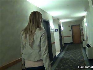 Behind the vignettes joy with huge-chested blonde Samantha Saint
