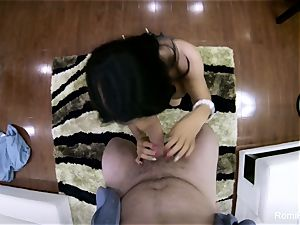 spectacular Romi gives a hot point of view blow-job and plow