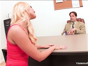 marvelous light-haired Vanessa box entices the dean