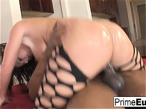 massive titty brown-haired Sophie Dee has bi-racial joy