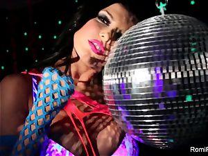 Romi plays w disco ball then tucks fucktoys in her cunt