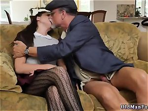 thick brunette first-timer riding the aged sausage!