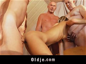 older college group penetrate featuring bony youthful blond