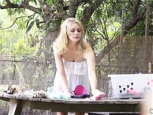 Alli Rae penetrating a voyeurism tom in her back yard
