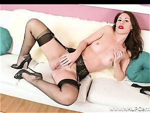 honey undresses off ebony lacy undergarments to jack in nylons