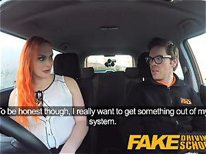 faux Driving school tatted sandy-haired thirsts a massive cock