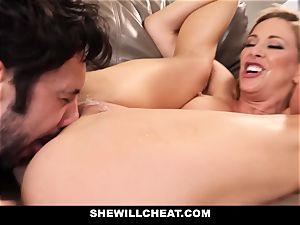 SheWillCheat cuckold wifey Gags on stiffy