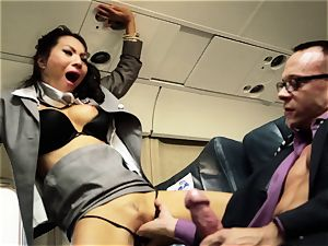 Asa Akira and her hostess pals smash on flight