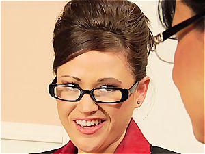 Lisa Ann teasing her coworker's hairy muff