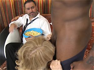 crazy Nina Hartley gets her spouse watching her drilling