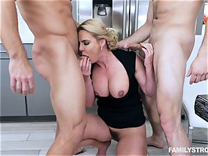 Phoenix Marie gets a steaming threeway at the dinner table