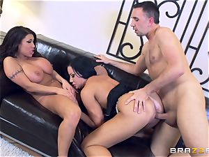Sybil Stallone and her friend toying with Keiran Lee and his giant hard-on